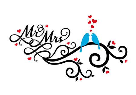 mrs: Mr and Mrs, wedding birds on swirl with red hearts, vector illustration Illustration