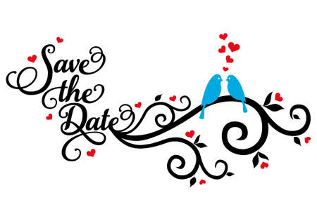 Save the date wedding birds with red hearts, vector illustration Stock Illustratie
