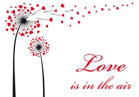 Liebe liegt in der Luft, Löwenzahn mit fliegenden roten Herzen, Vektor-Illustration