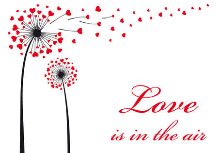 Love is in the air, dandelion with flying red hearts, vector illustration
