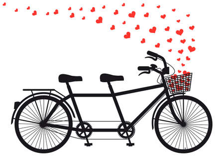 andando en bicicleta: bicicleta tanden con el vuelo corazones rojos, ilustración vectorial para el día de San Valentín, la boda