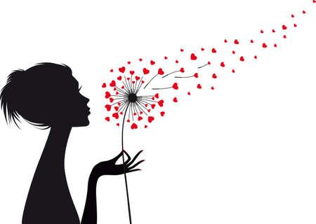 mujer que sostiene el diente de león con el vuelo corazones rojos, ilustración vectorial