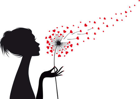 woman holding dandelion with flying red hearts, vector illustration Stock Illustratie