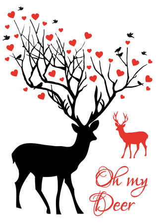 Oh my deer, stag and doe couple with red hearts, vector illustration