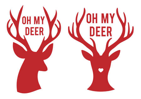 oh my deer, stag heads with text, vector set