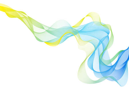 abstract green and blue smoke waves, vector background