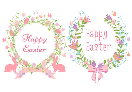 Happy Easter card, floral wreath with bunnies and birds, vector graphic design elements Vector