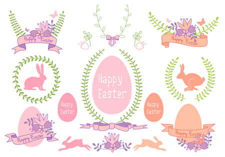 Happy Easter frames, laurels and ribbons, set of vector design elements Vector
