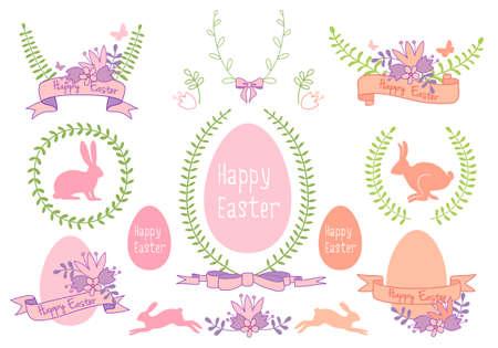 Happy Easter frames, laurels and ribbons, set of vector design elements
