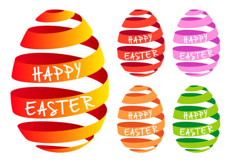 3D ribbon Easter egg, set of vector design elements Vector
