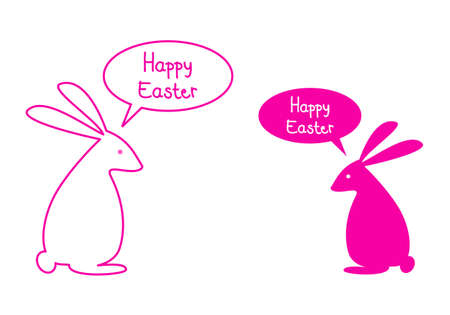 Happy easter card with pink bunnies and speech bubbles, vector Vector