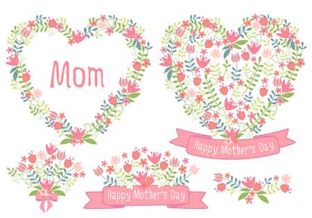 Día de la madre feliz, guirnalda del corazón floral, conjunto de elementos de diseño vectorial para tarjetas