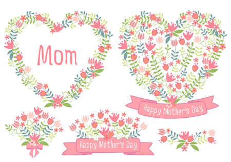 Happy mother's day, floral heart wreath, set of vector design elements for cards