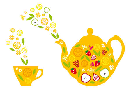 chinese tea pot: tea pot and cup with fruits and steam, vector illustration