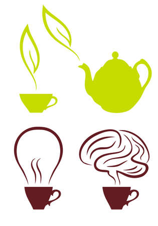 steam of a leaf: coffee cup with bulb and brain, tea with green leaf, set of vector drawings