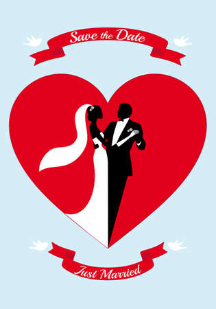 bride and groom with red heart and ribbons, vector illustration Vector