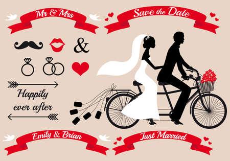 bröllop: bröllopuppsättning, bruden och brudgummen på tandemcykel, grafiska designelement