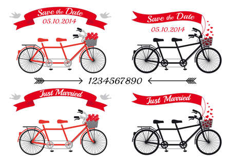 recien casados: invitación de la boda, bicicletas tándem y cintas, elementos de diseño vectorial