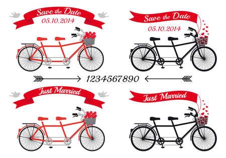 svatba: svatební oznámení, tandemové jízdní kola a pásky, vektorová designové prvky Ilustrace