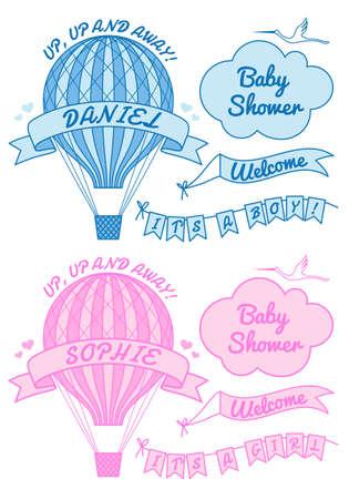 Globo de aire caliente, que es una niña o un niño, baby shower, conjunto de elementos de diseño vectorial Foto de archivo - 26630291
