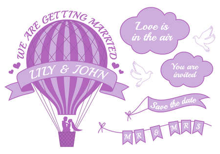 hot announcement: hot air balloon wedding invitation, set of vector design elements