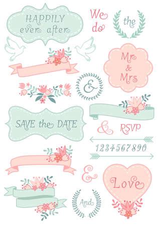 dona: bastidores de la vendimia de la boda y cintas, corona de laurel floral, conjunto de elementos de diseño vectorial