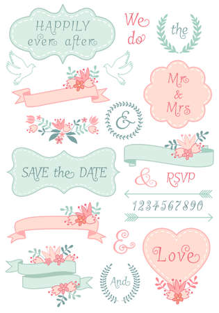 vintage wedding frames and ribbons, floral laurel wreath, set of vector design elements Иллюстрация