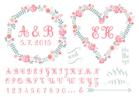 dona: monograma en cuadros de flores, invitación de la boda, conjunto de elementos de diseño vectorial Vectores