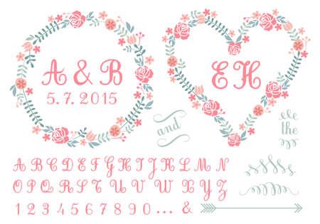 monogram in floral frames, wedding invitation, set of vector design elements