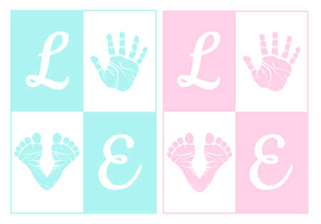 pink and blue baby hand print and footprint for baby shower Vector