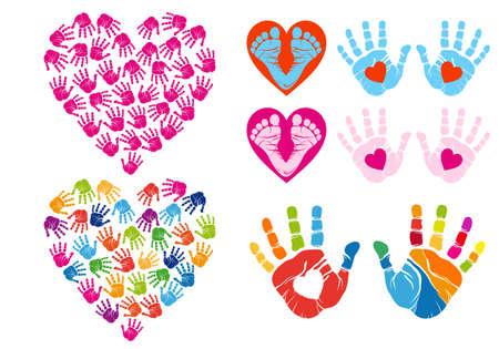 hand print hearts, set of vector design elements Illustration
