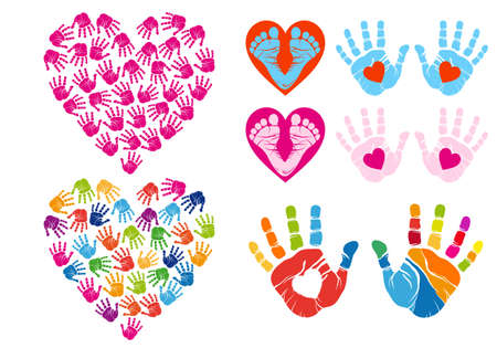 hand print hearts, set of vector design elements Illustration