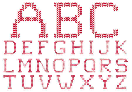 knitted ABC, letter set, knitting alphabet  Vector