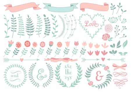 vintage floral laurel wreath set   イラスト・ベクター素材
