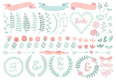 text pink: vintage floral laurel wreath set  Illustration