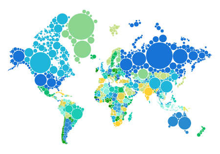 Political dot world map with countries
