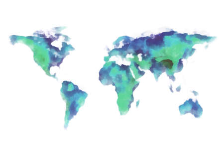 blue and green earth, world map, watercolor painting