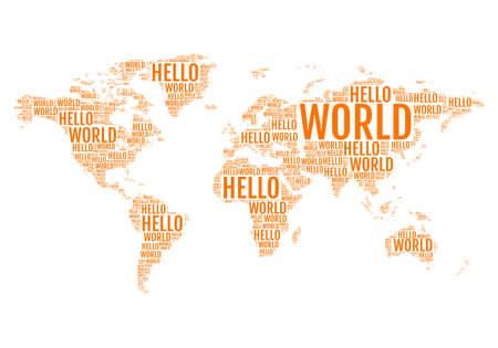 Hello World, typografický mapa světa, cestování, vektorové ilustrace