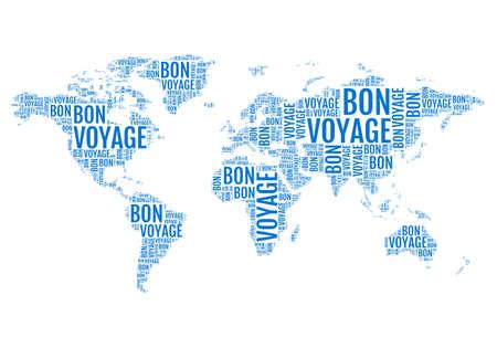utazási: Bon Voyage, tipográfiai világtérképen, utazás, vektoros illusztráció