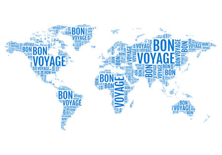 bon voyage, typographic world map, travelling, vector illustration Stock Illustratie