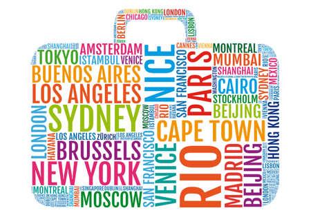 reizen, kleurrijke stad reis koffer, vectorillustratie