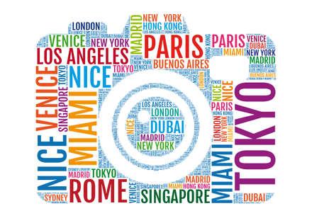 tourist icon: sightseeing, photo camera with city names, word art, vector illustration Illustration