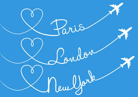 Heart shaped airplane trails, Paris, London, New York, vector set Vector