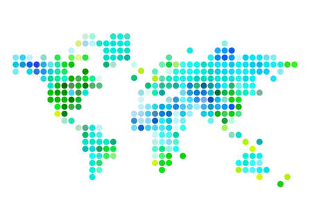 blue and green abstract world map with dot pattern, vector illustration  Vector