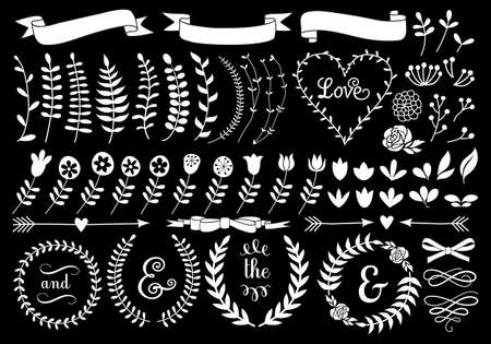 white vintage floral laurel wreath set on chalkboard, vector design elements Stock Illustratie