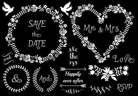 mrs: white floral wedding frames and laurel wreath, vector set on chalkboard Illustration