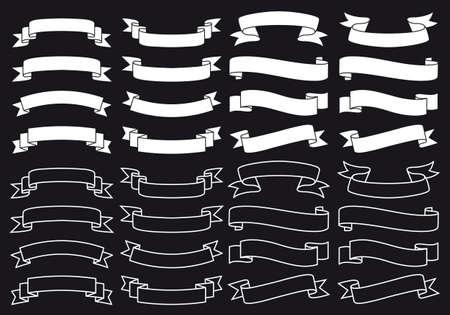 흰색 리본 배너 검은 칠판, 벡터 디자인 요소에 설정