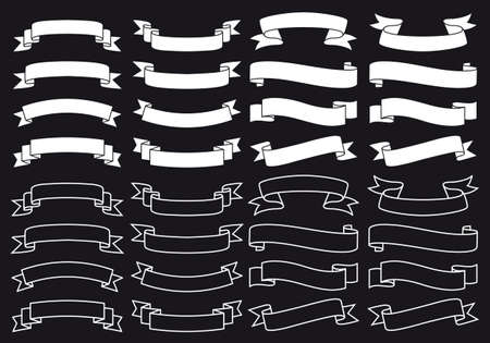 simple: bandera de la cinta blanca establecido en el pizarrón negro, elementos de diseño vectorial Vectores