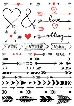 plume: fl�ches de mariage dessin�s � la main, ensemble d'�l�ments de conception de vecteur