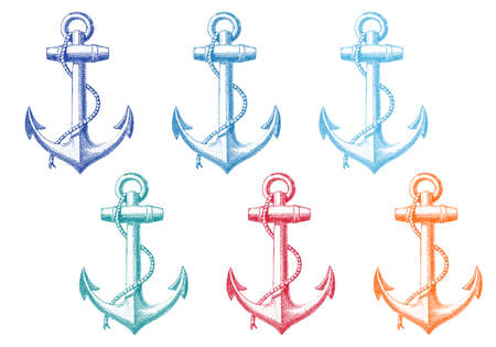 navy ship: vintage anchor with rope, set of vector deign elements Illustration
